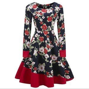 VINTAGE Style Long Sleeve Black Floral Swing Dress
